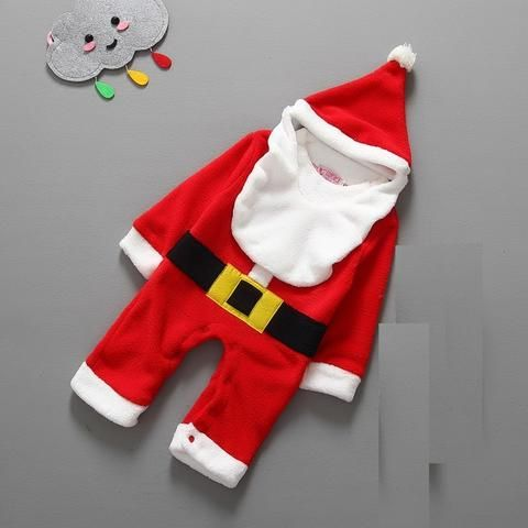 67f215b96e1d Christmas Baby Gift Clothes Romper Hat Bib Sets Cute Santa Bebe One ...