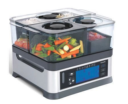 Three Course Electric Steamer cooks various foods simultaneously