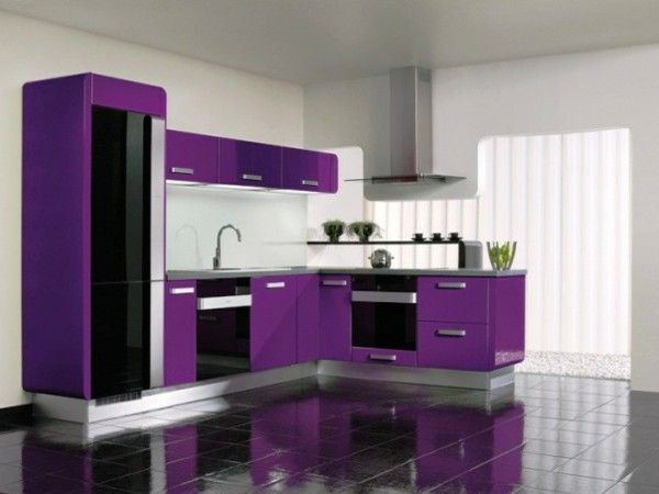 Minimalist kitchen contrast colors wood plate dark brown purple Cabinet white
