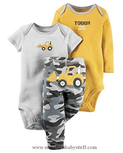 Baby Boy Clothes Carter's Baby Boys 3 Pc Back Art 126g401, Yellow, 6 Months