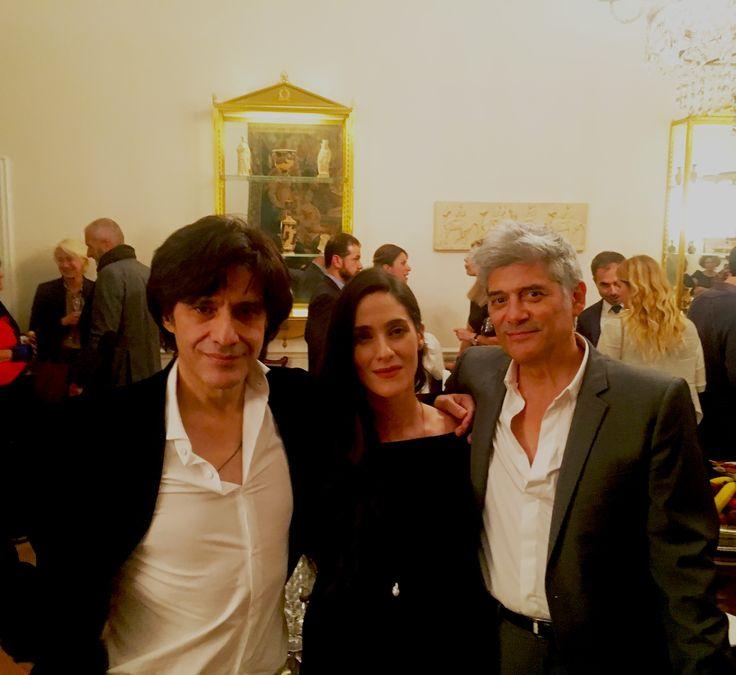 """Presentation du livre """"Bar Flaubert"""" à l'Ambassade de Grèce à Paris (Alexis Stamatis, Eva Simatou, Georges Corraface)"""