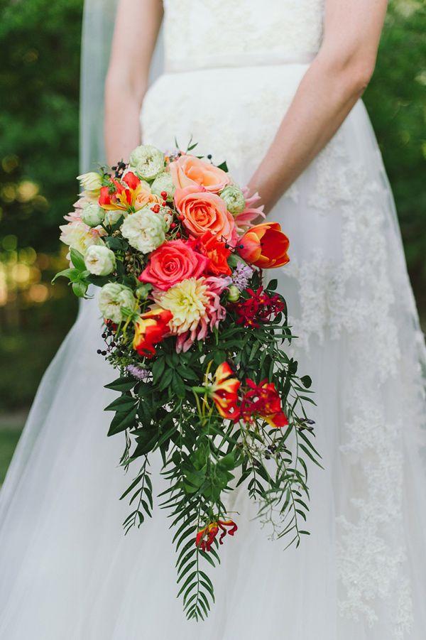 cascading bouquet, photo by Love Made Visible http://ruffledblog.com/franschhoek-valley-wedding #flowers #weddingbouquet