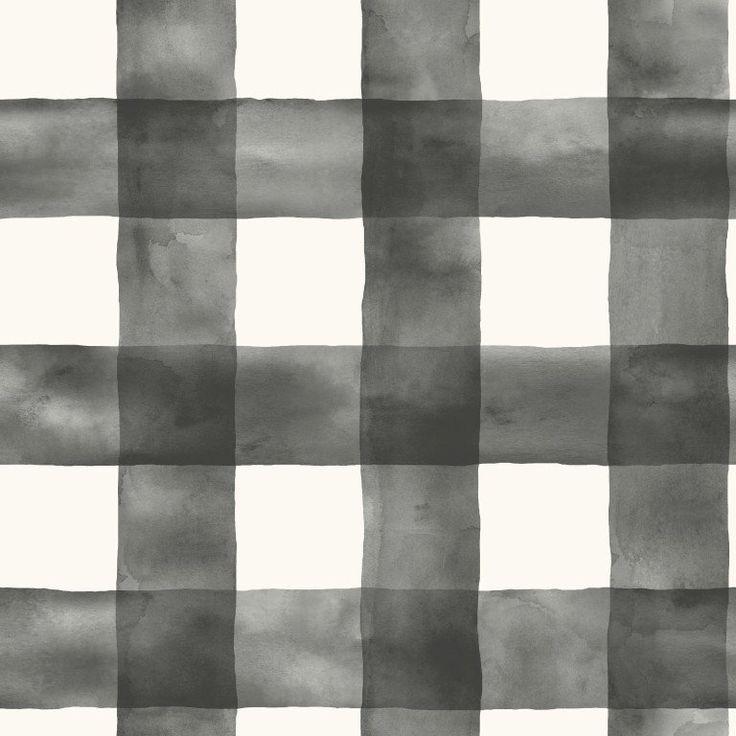 Joanna Gaines Magnolia Home Buffalo Check Black and White Wallpaper