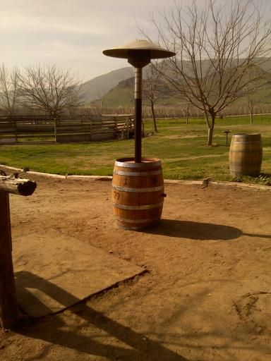 Wine Barrel Trash Can | Patio Heater with new Heater parts: $350