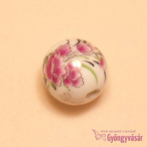 Liliom, 14 mm-es golyó - porcelán gyöngy • Gyöngyvásár.hu