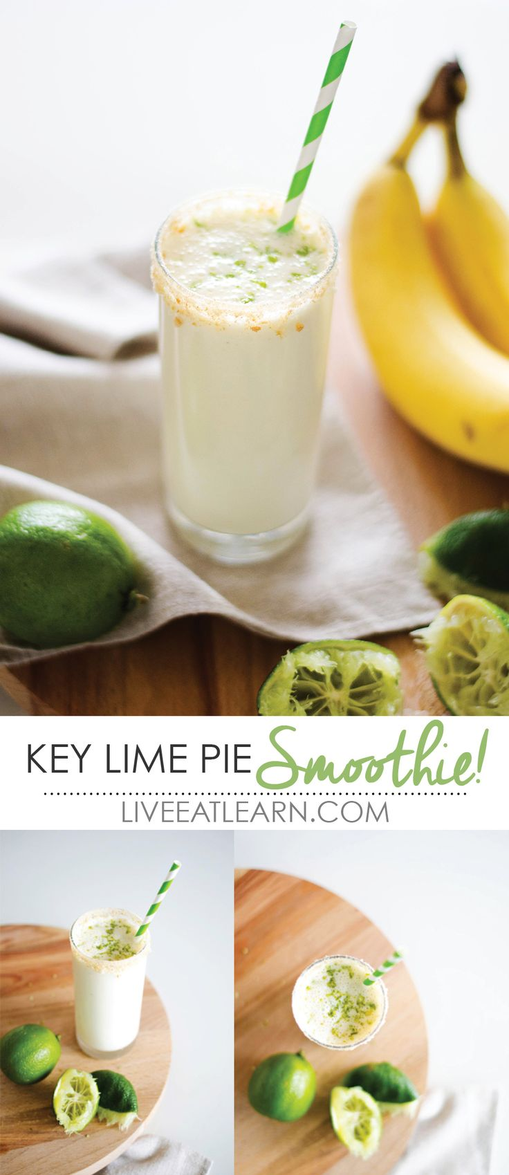 This key lime pie smoothie recipe is creamy, tangy, and a healthy breakfast to start your day! With fresh lime juice, Greek yogurt, banana, and vanilla, this smoothie combines decadent dessert flavor with healthy morning nutrition! Sponsored by @The Florida Keys and Key West in partnership with @Honest Cooking // Live Eat Learn