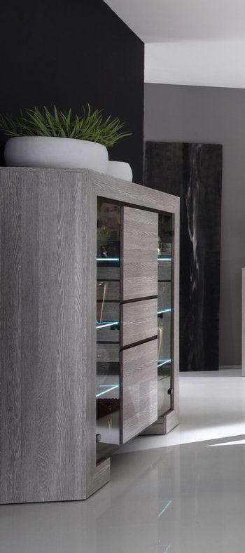 Argentier / Vaisselier contemporain DESIREE, avec éclairage LED, coloris chêne gris