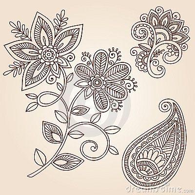 Elementos del diseño del vector del Doodle de la flor del tatuaje de la alheña                                                                                                                                                     Más