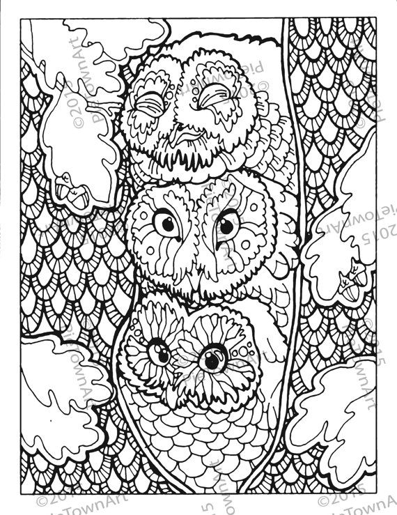 Owl Coloring Page By PieTownArt On Etsy