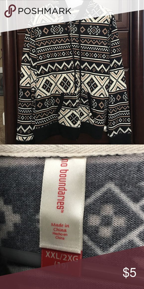 Zip up hoodie. Zip up hoodie. Cream/beige/black Aztec print, size (juniors)  XXL (19) -- fits like a women's large in my opinion. GUC No Boundaries Jackets & Coats