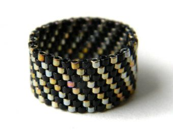 Size 8 Modern womens ring Wide band ring for women Stylish ring Hypoallergenic ring Seed bead jewelry Unique fashion ring Peyote ring band