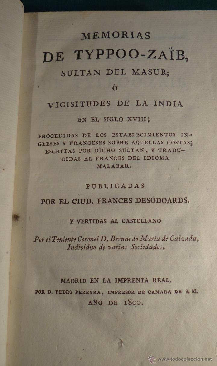 MEMORIAS DE TYPPOO ZAID SULTAN DEL MASUR - IMPRENTA REAL - MADRID - 1800