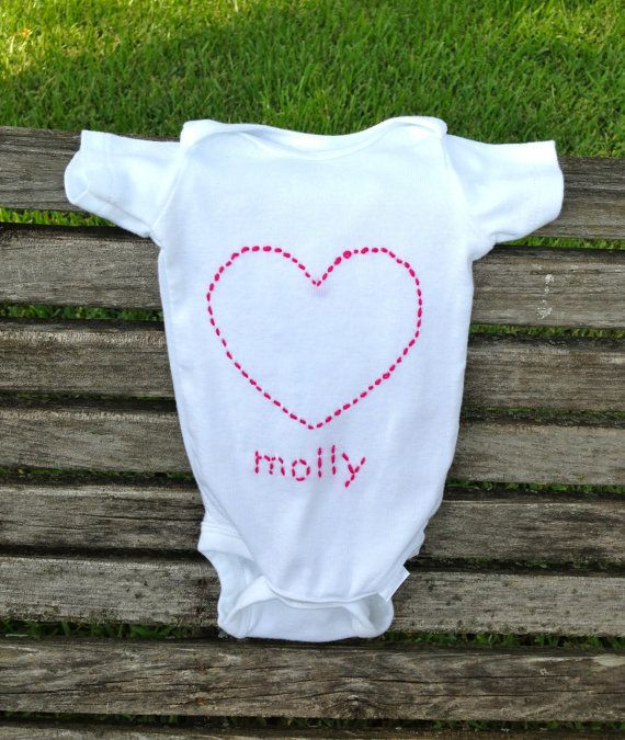 PERSONALIZED Custom Embroidered Heart Onesie, babie onesie, personalized baby clothes, cute heart on Etsy, $22.00