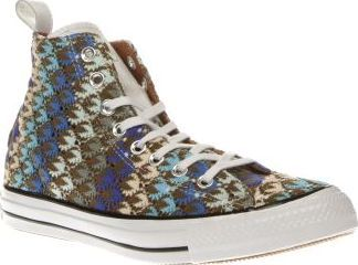 Converse Multi All Star Missoni Hi Womens Trainers Converse join forces with Italian fashion powerhouse Missoni, to give their iconic All Star Hi profile a runway-worthy update. Crafted in Missonis signature patterned knitwear, the multi-coloured fabr http://www.comparestoreprices.co.uk/january-2017-8/converse-multi-all-star-missoni-hi-womens-trainers.asp