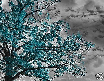 Bedroom Art Teal Gray Tree Sky Wall Art Home Interior