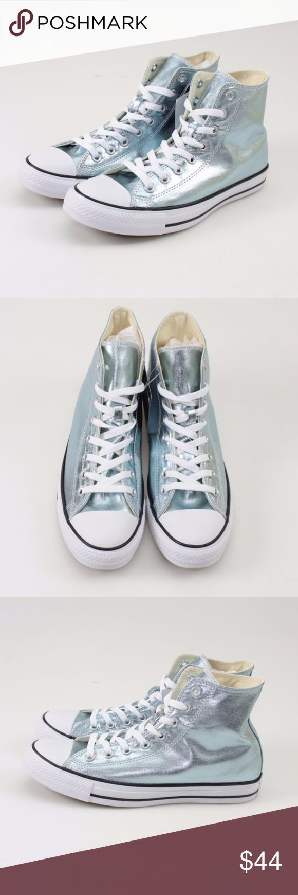 Converse Metallic Glacier High Tops // Size M9 W11 Kick back in these Converse All Star high-top shoes Padded footbed offers lasting comfort Classic canvas upper with a metallic foil finish Signature Chuck Taylor design including the famous rubber cap toe Rubber, fabric outsole Men's Size 9 = Women's Size 11  Photos show all details, so look over thoroughly. These are brand new in the original box! #28WKSD // Converse // Chuck Taylors // All Star // High Top // Metallic Glacier Converse…