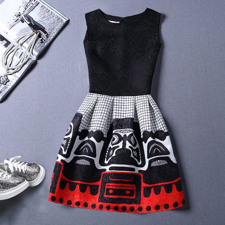 2016 do sexo feminino Retro vestidos bordados mulheres se vestem Boho Chic estilo de impressão africano moda Rockabilly Skater vestido Kylie Jenner(China (Mainland))