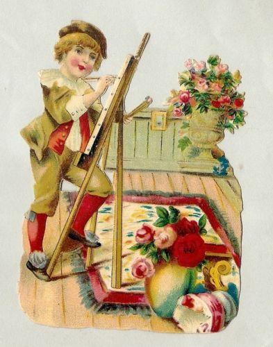 L' Artiste Peintre Fleurs Tableau Chromo Decoupi Victorian Scrap