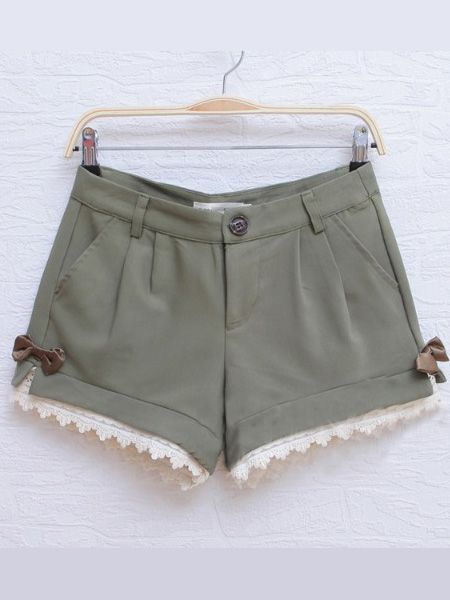 Green Casual Pierced Color Block Bow Mid Waist Cotton ShortsBlock Bows, Chic Sheinside, Cotton Shorts, Bows Shorts, Waist Cotton, Mid Waist, Colors Block, Lace Bows, Green Casual