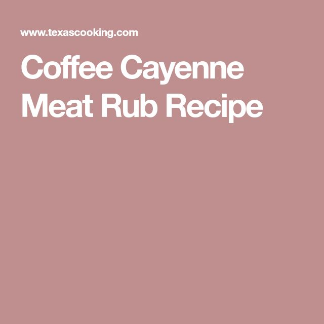 Coffee Cayenne Meat Rub Recipe
