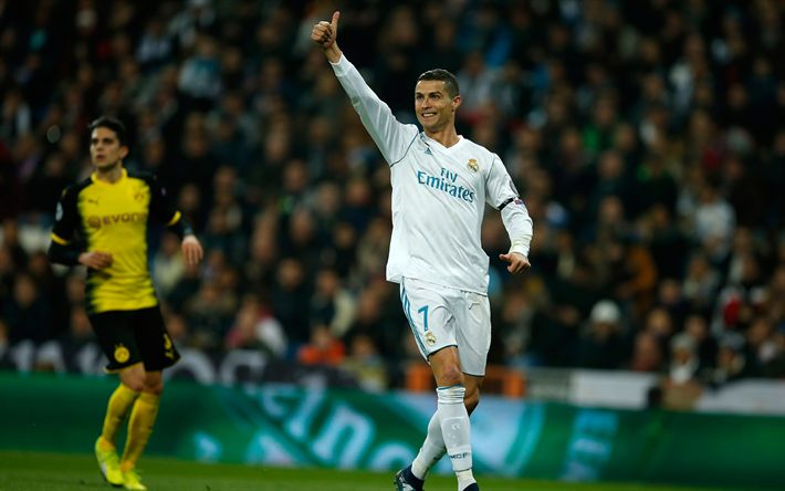 Download wallpapers Cristiano Ronaldo, Champions League, Real Madrid, Spain, football, 4k, Portuguese footballer, star