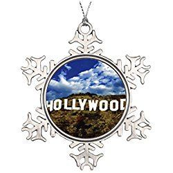 Los Angeles Christmas Ornament Hollywood sign ceramic round