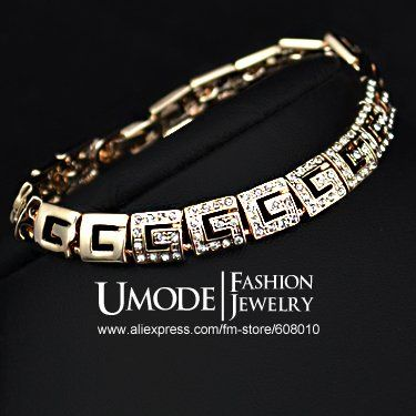 18k banhado a ouro rosa austríaco redrarenânia pavimentadas g estilo bracelete( umode jb0064)