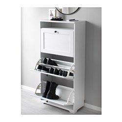 Hall shoes (matches LR) - IKEA - BRUSALI, Shoe cabinet with 3 compartments, white, , Helps you organize your shoes and saves floor space at the same time.You can easily adjust the space in the shoe compartments by moving or taking away the dividers.In the shoe cabinet your shoes get the ventilation and the space they need to keep them like new longer.