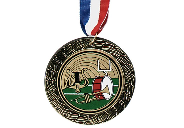 """AWARD MEDAL BAND - Great for beginners as an inexpensive alternative to our heavier metal ribbon medallions. 2¾"""", lightweight plastic, with 30"""" neck ribbons."""
