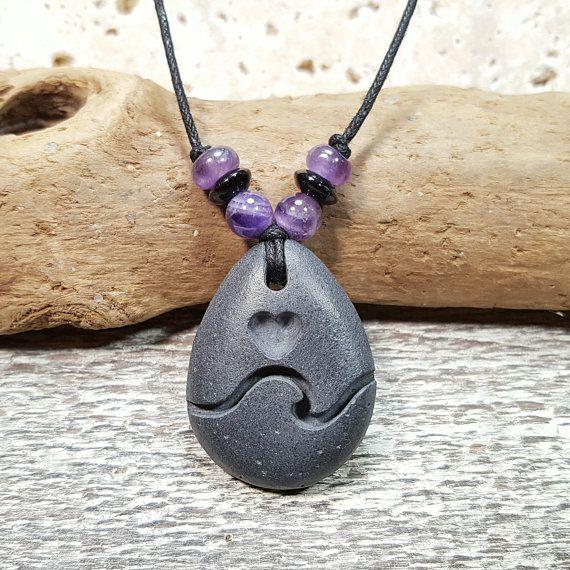 Heart Necklace carved beach rock pendant adjustable by RockYouWear