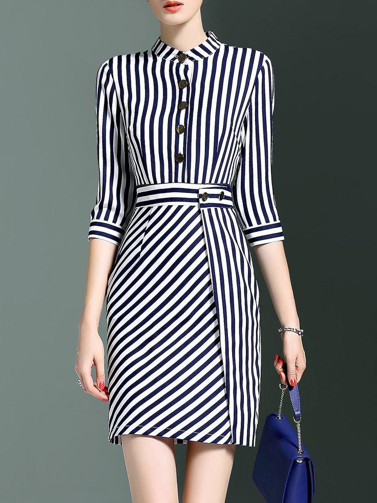 Shop Mini Dresses - 3/4 Sleeve Simple Stripes Mini Dress online. Discover unique designers fashion at StyleWe.com.