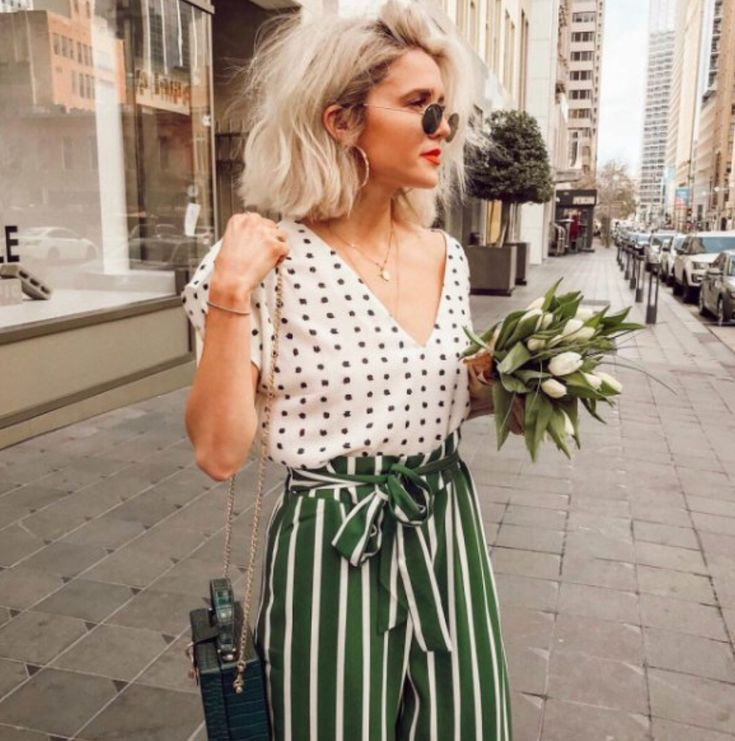 super cute | cute outfit | mixed pattern outfit | how to mix patterns | striped pants | polka dot shirt | summer outfit | summer ootd