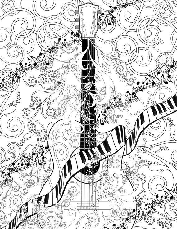 adult coloring page printable adult guitar coloring poster instant download coloring poster