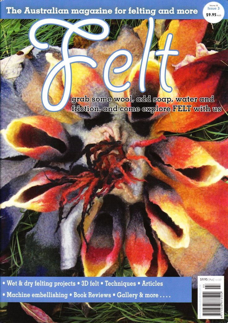 Quality Felt Magazines published in Australia and available from Australian Needle Arts. http://www.australianneedlearts.com.au/Felt%20Magazine%20Issue%2016