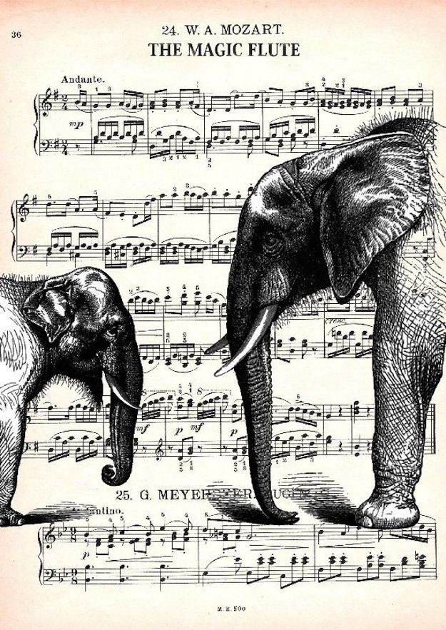 Gasp! My two favorites, flute and elephant, in a single frame!  Lots of other cool images mixing art and music at the link.