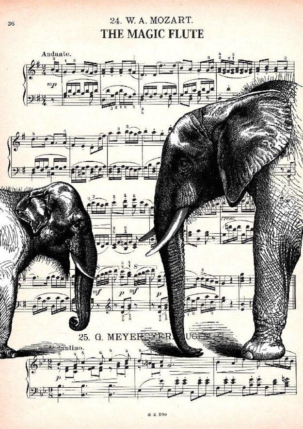 Elephants | 12 Breathtaking Examples Of Sheet Music Art