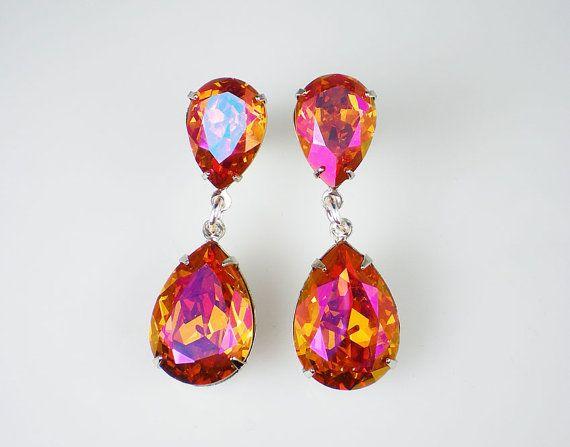 Rhinestone Earrings Astral Pink Swarovski Dangle Earrings Pink Orange Coral Wedding Bridesmaid Jewelry on Etsy, $35.00