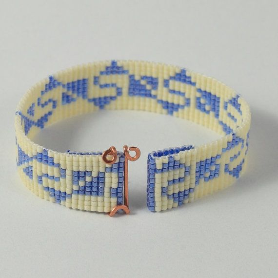Ik hand beaded deze Inca Indiase armband op een weefgetouw in Albuquerque, New Mexico. Het ontwerp is geïnspireerd op een oude Inca patroon en is