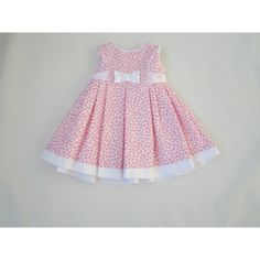 Vestido Bebé niña Pink dress with pleats white band on hem. Cute!