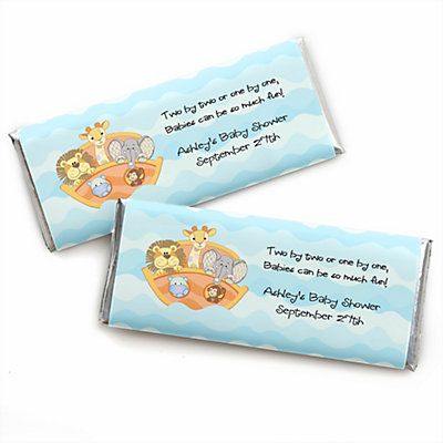 Noah's Ark - Personalized Baby Shower Candy Bar Wrapper Favors - BabyShowerStuff.com