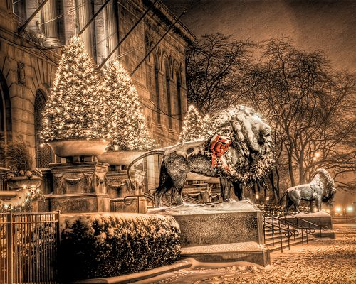 christmas time - art institute of chicago- have seen these lions hundreds of times...Christmas Wreaths, Christmas Time, Chicago Art, Christmas Art, Holiday Lights, Christmas Decorations, Christmas Villages, Art Institution, Christmas Village Display