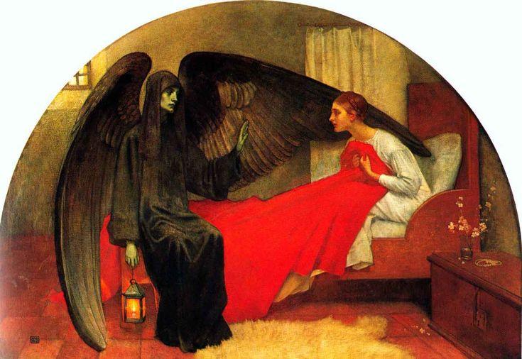 """""""La jeune fille et la mort"""", Marianne Stokes (1855-1927), vers 1908. Dans les années 1890, l'artiste trouve une source d'inspiration de plus en plus fréquente dans les sujets médiévaux, religieux et mythologiques. Son œuvre témoigne alors de l'influence des préraphaélites et de l'Art nouveau."""