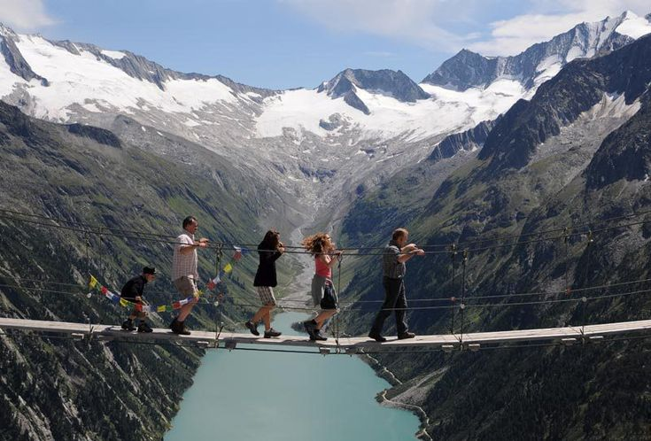 Hanging Bridge in the Zillertal Alps - Ziller River Valley, Tyrol, Austria (on the bottom of Ziller River valley is seen a part of Lake Schlegeis)