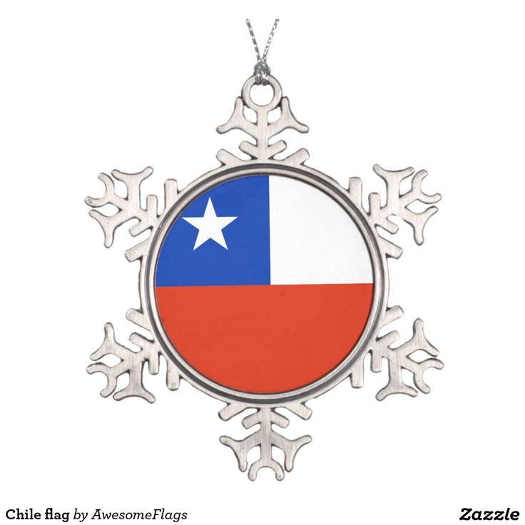 Chile flag pewter snowflake decoration