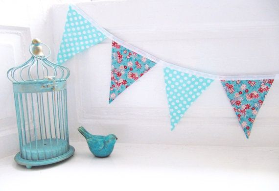 Pretty Cotton Fabric Bunting Turquoise Coral by LilyLovesShopping
