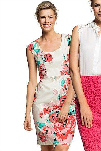 Women's Dresses - Emerge Cap Sleeved Printed Dress - EziBuy Australia