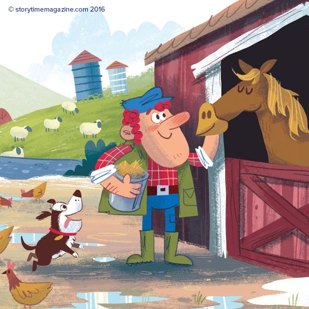 A funny fable The Farmer's Horse from Storytime Issue 20, featuring a prancing pony! Art by Lee Cosgrove (http://www.gorillustrator.com) ~ STORYTIMEMAGAZINE.COM
