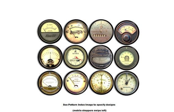 Industrial Meter Drawer Pulls  Steampunk Machine Gauges