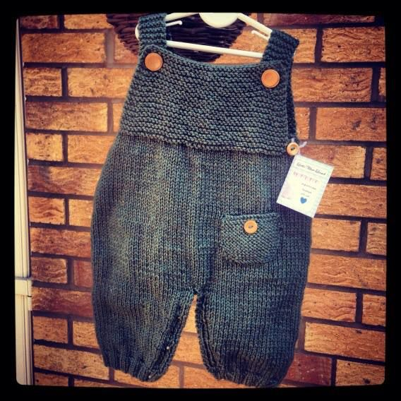 Handmade knitted dungarees, baby clothes