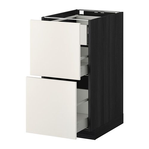 METOD / MAXIMERA Benkeskap 2 front/2 m/1 h skuff - tremønstret svart, Veddinge hvit, 40x60 cm - IKEA